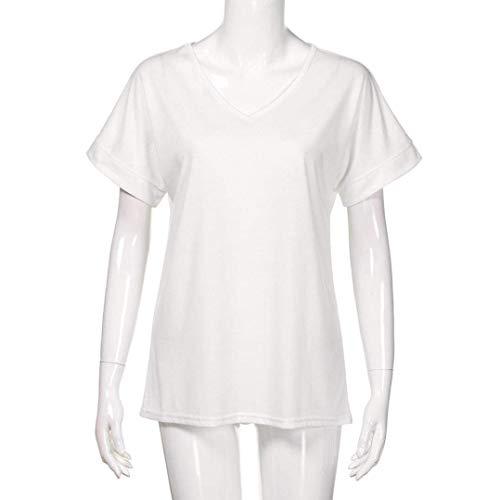 Stlie Bianca Alta neck Accogliente Corta Grazioso Camicetta Bluse Monocromo Moda Blusa Estivi Manica Eleganti V Donna Vita Casual Camicie Shirts AxwUHqz6