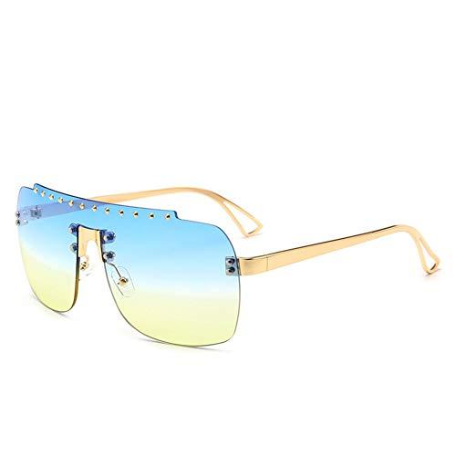 de marco de B de del tendencia gafas diamante sol Las una europea NIFG gafas la del de sol y sin forman americana sola pieza gradiente 4ngEfxq7