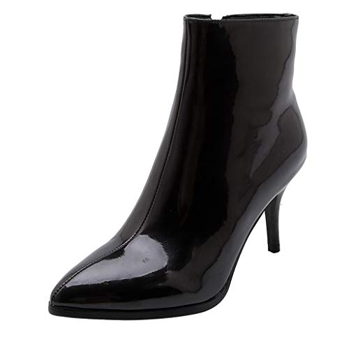 AHAYAKU Women's Patent Pure Boots Mid-Boots Ankle Zipper Thin Heel Casual Boots Shoes 2019 Black