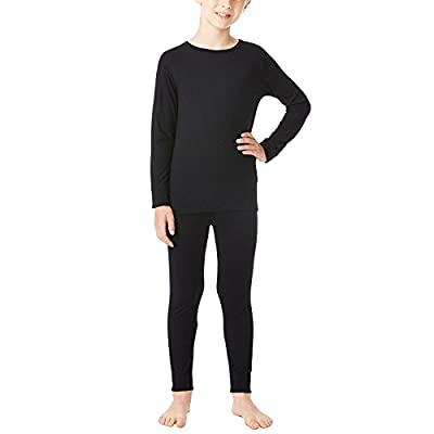 32 Degrees Weatherproof Big Boy's Base Layer Thermal Shirt Long Underwear Set, Black
