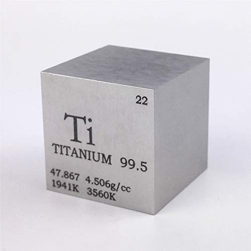 (1 inch 25.4mm Titanium Metal Cube 73g 99.5% Engraved Periodic Table of)