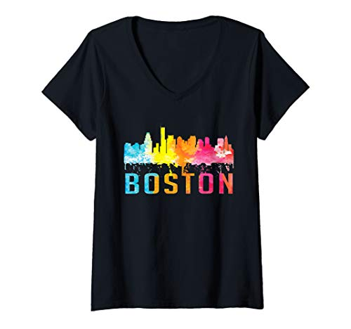 Womens Boston Massachusetts Retro Watercolor Skyline Souvenir Shirt V-Neck T-Shirt