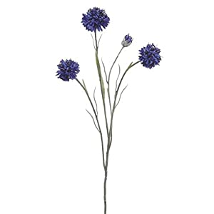 "Floral Home Artificial Cornflower Spray in Blue - 24"" Tall - Set of 2 10"