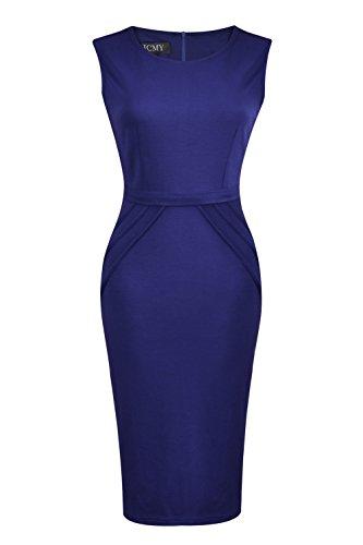 HCMY Wear To Work Sleeveless Midi Evening Dresses for Women Petite Formal Blue S