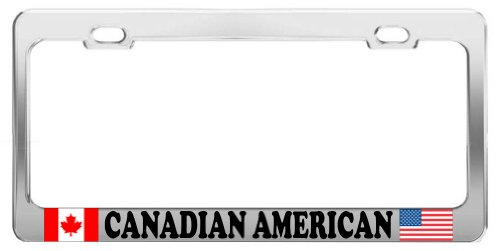 product-express-canadian-american-proud-chrome-steel-tag-holder-license-plate-frame