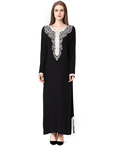 long sleeve dress with embroidery for women Islamic clothing rayon gown jalabiyas Black Large (Kaftan Long Sleeve)