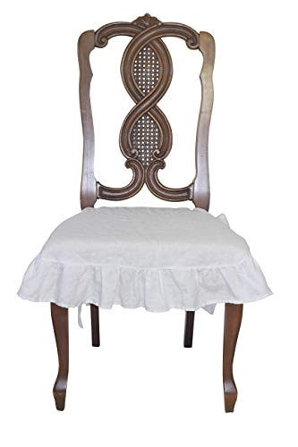 (Dining Beautiful Linen Chair Seat Cover 4 Sided Ruffle Large (White))
