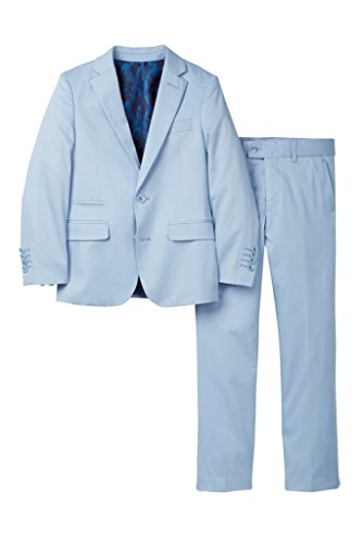 Isaac Mizrahi Boy's ST2078 Stretch Cotton Suit - Light Blue - 10 by Isaac Mizrahi