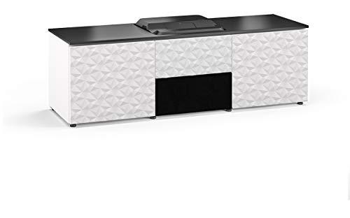 Salamander Chameleon Milan 236 Cabinet for Integrated Epson LS100 Projector - Gloss White/Black Top UST Projector Integrated Cabinet with Speaker Integration