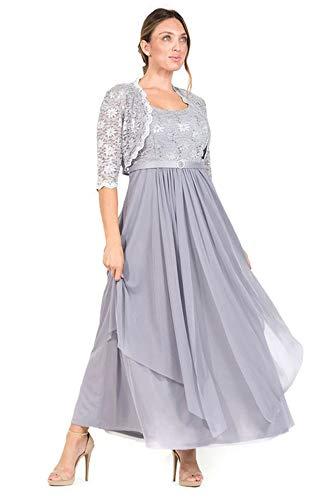 R&M Richards Long Mother of The Bride Formal Dress with Jacket (14, Silver) (Cheap Silver Mother Of The Bride Dresses)