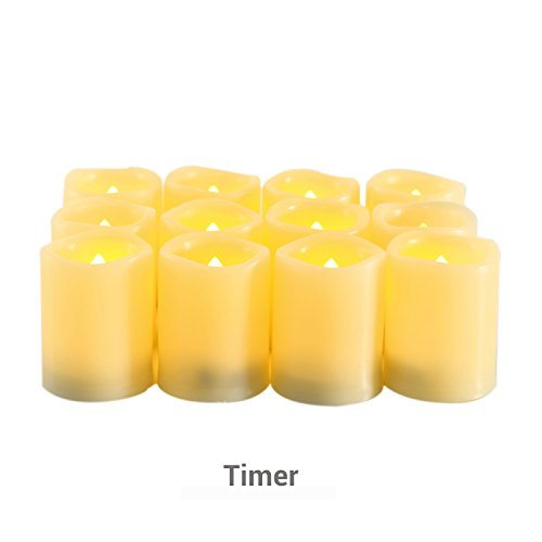 Candle Choice Flameless Candles Timers Battery Operated Votive Candles with Timer, Long Battery Life Set of 12, 1.5x2.0
