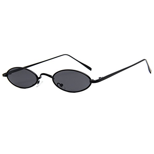 Armear Retro Oval Colored Slim Fit Sunglasses Small Metal Frame Flat Lens UV400 (Black, 51) - Small Metal Sunglasses
