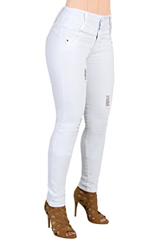 Curvify 764 Women's Butt-Lifting Skinny Jeans | High-Rise Waist, Brazilian Style (764,White, - Jeans No Pocket Back