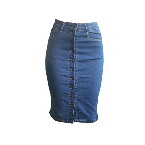 Taille Fendue Bodycon Robe XL Longue Pencil Button Jupe Denim XS Haute Body Bleu Mi Yying wzFtvv