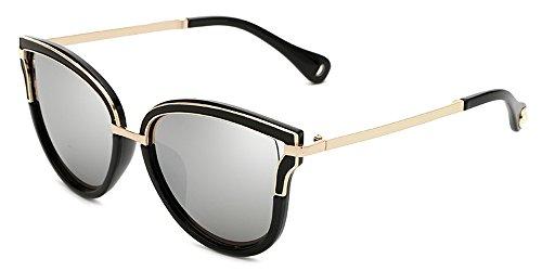 chats de soleil UV400 de Dintang lentilles et soleil de de Lunettes d'oeil Argent bloquent lunettes de UVA avec de UVB cru mode femmes des qui UqOnOXf