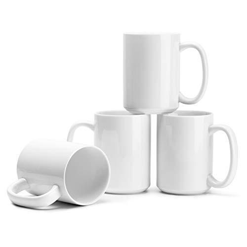 Plain Coffee Mugs (Teocera Porcelain Mugs, Coffee Mugs Set - 15 Ounces for Coffee, Cocoa, Tea - Large Handle - Set of 4,)