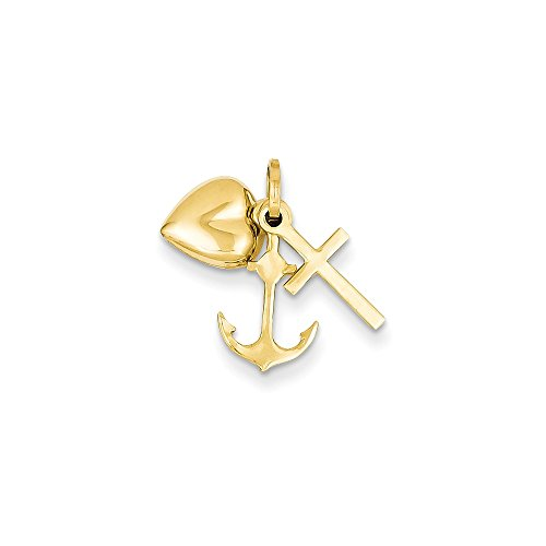 Hope Heart Charm Love Faith - 14k Yellow Gold Faith, Hope and Charity Triple Charm or Pendant, 7-8mm