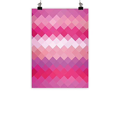 BarronTextile Hot Pink Light Luxury American Oil paintingCubism Inspired Modern Art Design with Vibrant Colored Diamonds Print Home and everythingPink Peach Fuchsia 31