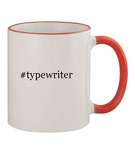 Price comparison product image typewriter - 11oz Hashtag Colored Rim & Handle Sturdy Ceramic Coffee Cup Mug,  Red