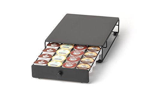 Under the Brewer Storage Drawer for K-Cup Packs Organize 24 K-Cup Pods. K-Cup Holder will fit underneath all At Home Keurig Hot Brewers Saving Counter Space (Space Saving Cup Holder)