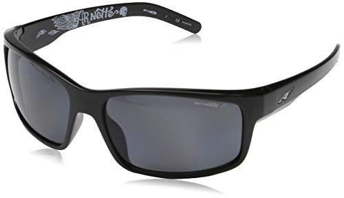 Arnette Fastball AN4202-05 Polarized Rectangular Sunglasses, Black, 61 mm