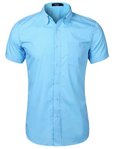 iClosam Men's Casual Short Sleeve Button Down Shirt Collar Dress Shirt Sky Blue
