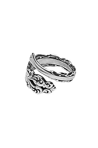 (Silver Spoon Jewelry Womens Lara Spoon Ring, Vintage Antique Style Adjustable Ring, Silver Plated)