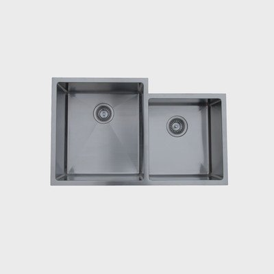 - Ukinox RS420.60.40.10R Modern Undermount Double Bowl Stainless Steel Kitchen Sink