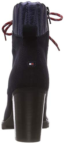 Tommy midnight 403 Heeled Hilfiger Boot Basic Blu Donna Suede Stivali Hiking Combat rrwvS