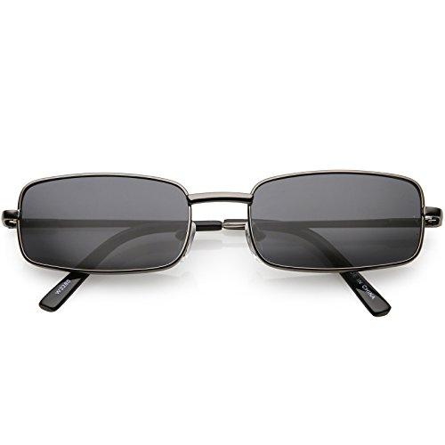 sunglassLA - Classic Small Metal Rectangle Sunglasses For Women Men Flat Lens 54mm (Gunmetal/Smoke) ()