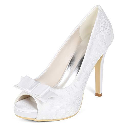 Sera Satin Tacchi Classic Alti Di L Toe New Donna Size 35 yc Punta White Scarpe Sposa 42 Peep Da Per gattino 8T867anwq