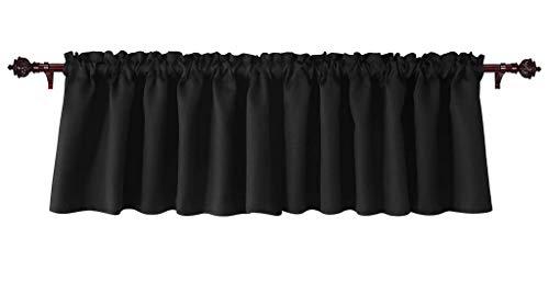 Eagle Linen Decorative Polyester Window Valances Solid Black Gathered Style (60