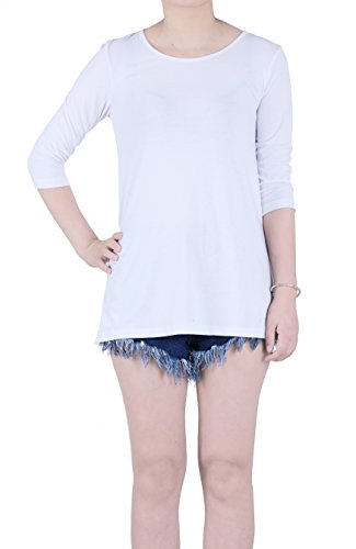 Elbow Sleeve Lightweight Cotton (FAVELEM Women's Basic Elbow Sleeve Cotton T-Shirt Plain Top(White,S) 802-1)