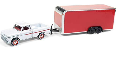 1960 Chevy Stepside - NEW DIECAST TOYS CAR JOHNNY LIGHTNING 1:64 TRUCK AND TRAILER - 1965 CHEVROLET STEPSIDE WITH ENCLOSED TRAILER WHITE RED JLSP020