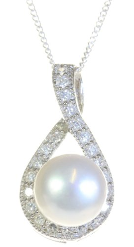 Argenti di Lusso Women Classical 925 Sterling Silver 8.0mm White Freshwater Cultured Pearl Pendant Chain with Cubic Zirconia