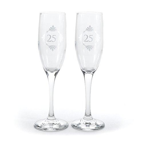 Hortense B. Hewitt Silver Anniversary Champagne Flutes (Set of 2), (25th Anniversary Toasting Glasses)