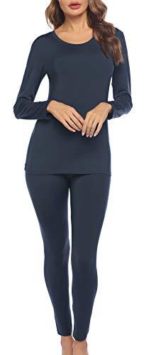 INZOE Thermounterwäsche Set Damen Warm Unterwäsche und Skiunterwäsche Thermo Oberteil Lange Pyjamas Zweiteiliger Nachtwäsche für Frauen