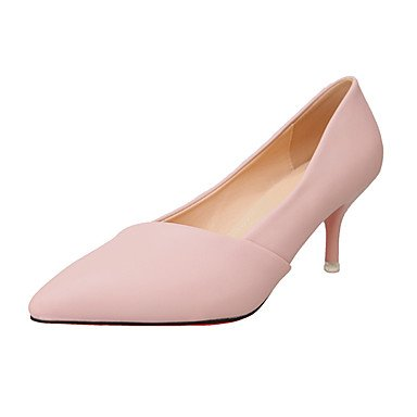 LvYuan-ggx Damen High High High Heels PU Sommer Walking Kombination Stöckelabsatz Schwarz Grau Rosa 7,5 - 9,5 cm gray ea6765