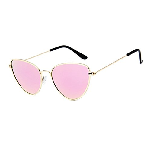 Aviador Hombres Ojo Sunglasses Mujer de Dorado LINNUO Marco Pink Colores de Sol Eyewear de Unisex Metal Gato Marco Gafas Retro a4WpF1P