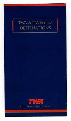 Trans Map - TWA & TWExpress Destinations Route Maps 1995 Trans World Airlines