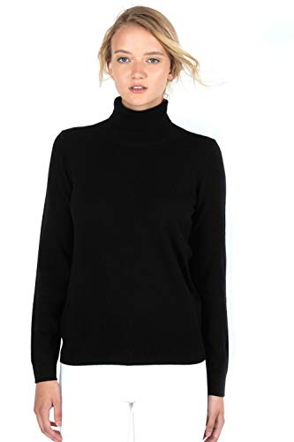 JENNIE LIU Women's 100% Pure Cashmere Long Sleeve Pullover Turtleneck Sweater (S, Black)