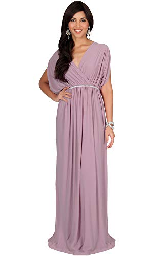 KOH KOH Womens Long Cocktail Empire Waist Short Sleeve Formal V-Neck Bridesmaid Summer Flowy Bridesmaids Wedding Guest Grecian Gown Gowns Maxi Dress Dresses, Dusty Pink L 12-14