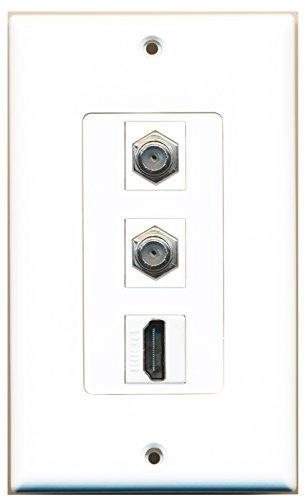 RiteAV - 1 Port HDMI 2 Port Coax Cable TV- F-Type Decorative Wall Plate - White