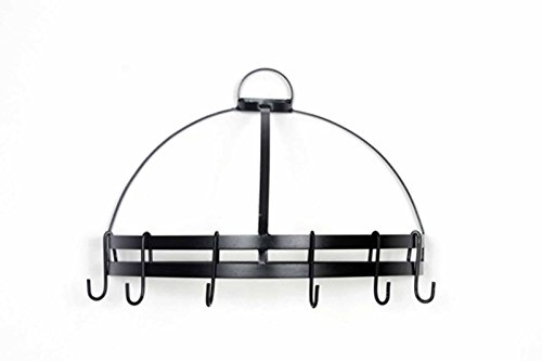 Half Round Wall Pot Rack-18 Inches Wide x 12.5 Inches Tall and 9 Inches Deep, with 6 Hooks. Black.
