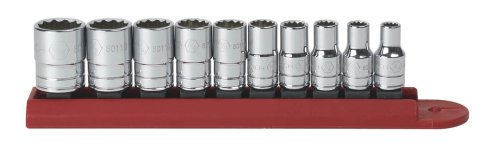 GearWrench 80307 10 Piece 1/4-Inch Drive 12 Point Standard SAE Socket Set - 80307D