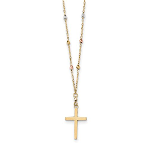 ICE CARATS 14k Tri Colored Gold Beaded Cross Religious Chain Necklace Crucifix Fine Jewelry Gift Set For Women (Tri Color Crucifix)