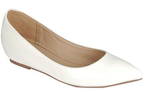 Voor Altijd Link Womens Patent Puntschoen Slip Op Ballet Plat Wit