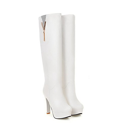 Material Closed Soft AmoonyFashion High Pull High White Heels Toe Round Women's top on Boots wTwYEZq