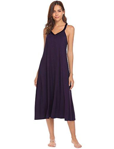 Ekouaer Long Nightgown Womens Solid Sleeveless Nightshirts Sleepwear,8358-wineberry,XX-Large