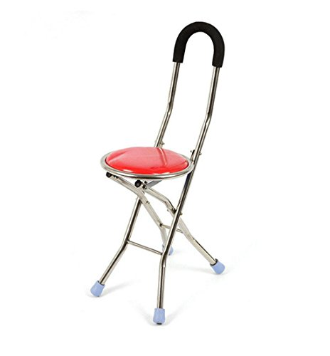 jiaminmin Four Legged Crutches Stainless Steel Old People Crutches Stools Crow Stools Walking Cane Adjustable Folding Quad Cane Drive Medical Folding Cane Seat by jiaminmin